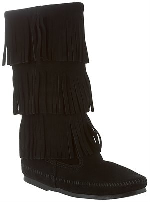 Black Minnetonka Calf Hi 3-Layer Fringe Boot