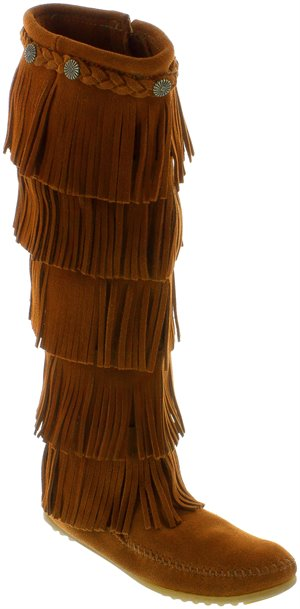 Brown Minnetonka 5 Layer Fringe Boot