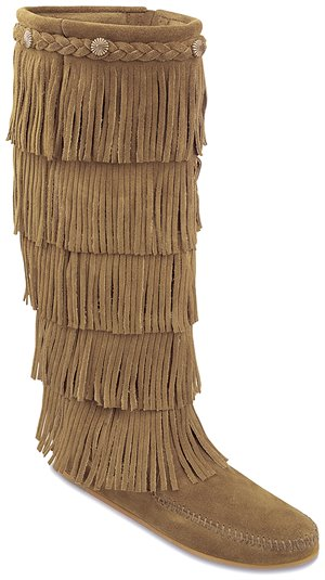 Taupe Minnetonka 5 Layer Fringe Boot