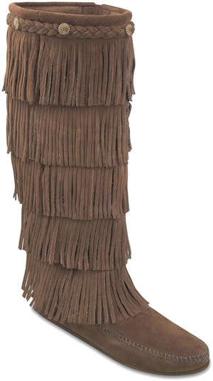 Dusty Brown Minnetonka 5 Layer Fringe Boot