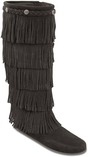 Black Minnetonka 5 Layer Fringe Boot