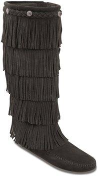 Black Minnetonka 5 Layer Fringe Boot