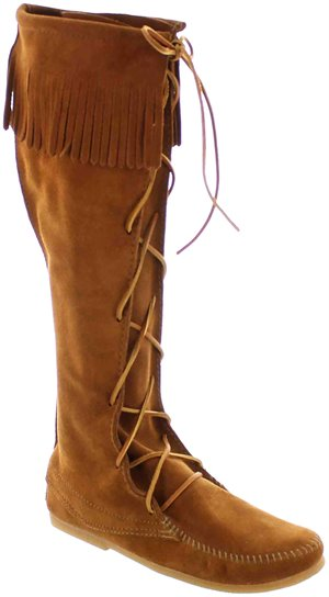 Brown Minnetonka Front Lace Knee Hi Boot