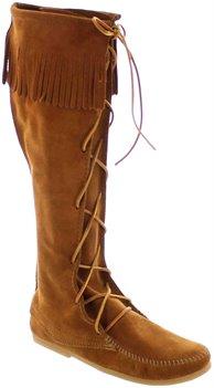 Brown Minnetonka Front Lace Knee Hi Boot