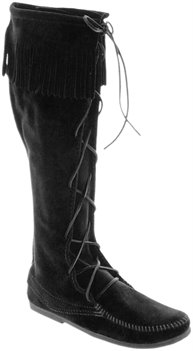 Black Minnetonka Front Lace Knee Hi Boot