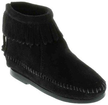 Black Minnetonka Back Zipper Boot
