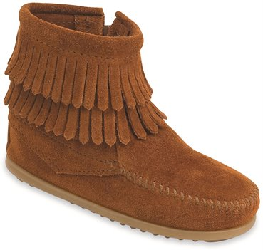 Brown Minnetonka Double Fringe Side Zip