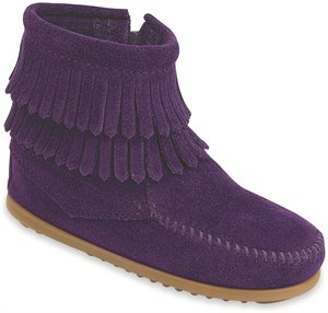 Purple Minnetonka Double Fringe Side Zip