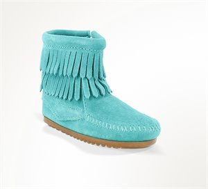 Turquoise Minnetonka Double Fringe Side Zip