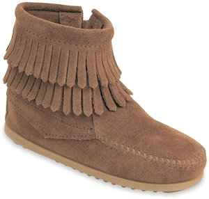 Taupe Minnetonka Double Fringe Side Zip