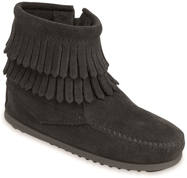 Black Minnetonka Double Fringe Side Zip