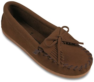 Dusty Brown Minnetonka Kilty Suede Moc