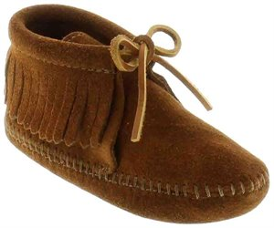 Brown Soft Sole Minnetonka Classic Childrens Fringed Boot