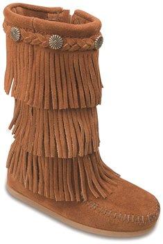 Brown Minnetonka 3 Layer Fringe Boot