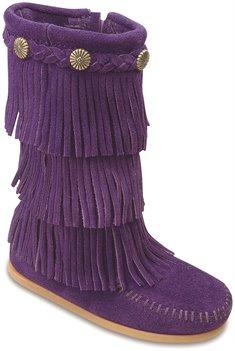 Purple Minnetonka 3 Layer Fringe Boot