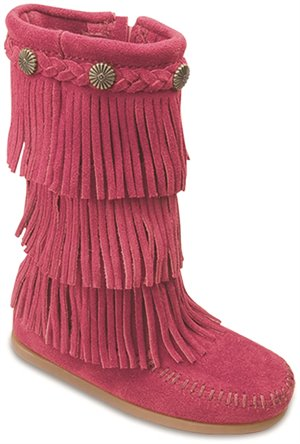 Bright Pink Minnetonka 3 Layer Fringe Boot