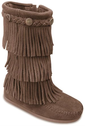 Dusty Brown Minnetonka 3 Layer Fringe Boot
