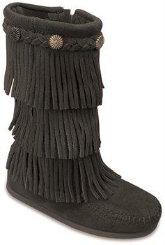 Black Minnetonka 3 Layer Fringe Boot