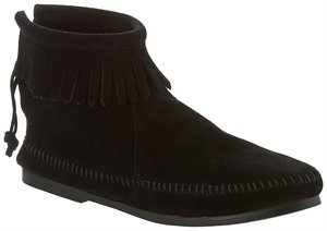 Black Hardsole Minnetonka Back Zipper Boot