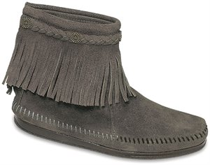 Grey Minnetonka Hi Top Back Zip Boot