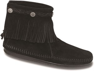 Black Minnetonka Hi Top Back Zip Boot