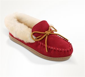 Red Minnetonka Alpine Sheepskin Moc