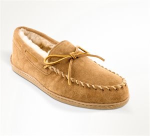 Tan Wide Minnetonka Sheepskin Hardsole Moc