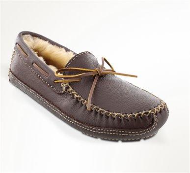 Chocolate Minnetonka Sheepskin Lined Moose Slipper