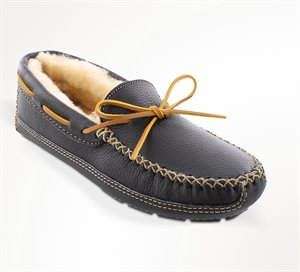 Black Minnetonka Sheepskin Lined Moose Slipper