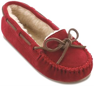 Red Minnetonka Cally Slipper