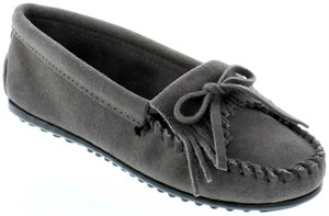 Grey Hardsole Wide Minnetonka Kilty Suede Moc