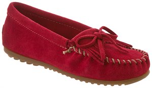 Cherry Red Hard Sole Minnetonka Kilty Suede Moc