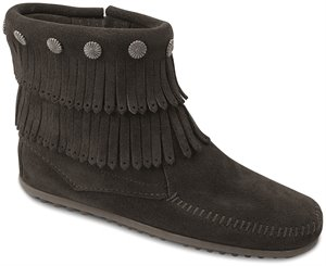 Black Minnetonka Double Fringe Side Zip Boot