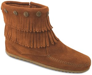 Brown Minnetonka Double Fringe Side Zip Boot