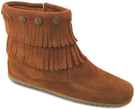 Brown Minnetonka Double Fringe Side Zip Boot