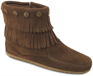 Dusty Brown Minnetonka Double Fringe Side Zip Boot