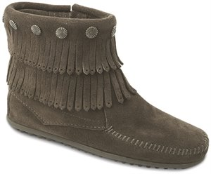 Grey Minnetonka Double Fringe Side Zip Boot