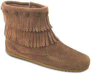 Taupe Minnetonka Double Fringe Side Zip Boot