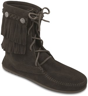 Black Minnetonka Double Fringe Tramper Boot