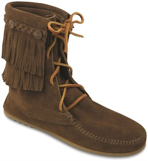 Dusty Brown Minnetonka Double Fringe Tramper Boot