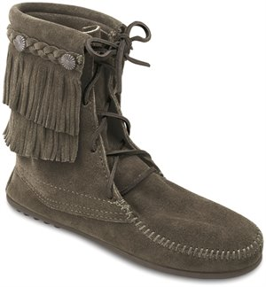 Grey Minnetonka Double Fringe Tamper Boot
