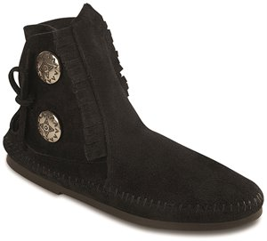 Black Rubber Sole Minnetonka Two Button Boot