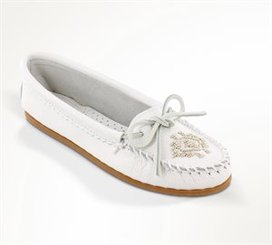 White Minnetonka Deerskin Beaded Moc