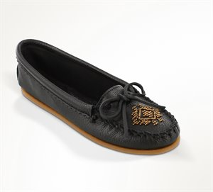 Black Minnetonka Deerskin Beaded Moc