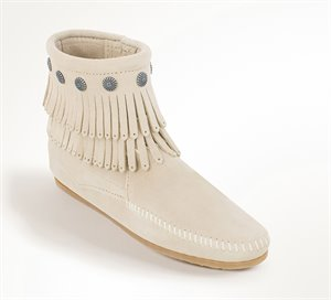 Stone Minnetonka Double Fringe Side Zip Boot