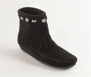 Black                      Minnetonka Womens Hello Kitty Fringe Boot