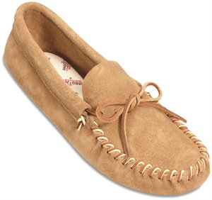 Tan Minnetonka Leather Laced Softsole