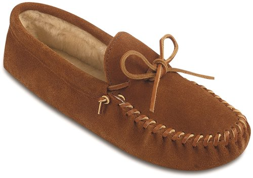 Brown Minnetonka Traditional Pile Lined Softsole