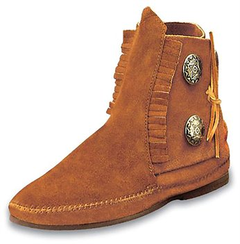 Brown Minnetonka Two Button Boot