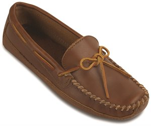 Chestnut Minnetonka Double Bottom Cowhide Driving Moc